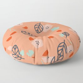 Coral Blue Leaves and Flowers Floor Pillow