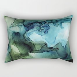 Land and Water Abstract Ink Painting Blues and Greens Rectangular Pillow
