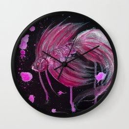Fuschia Splatter Betta Wall Clock