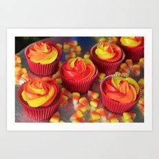 Candy Corn Cupcakes Art Print