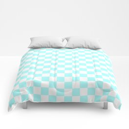 Small Checkered - White and Celeste Cyan Comforters