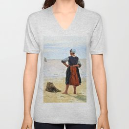 Beach scene from Bretagne. A young fisherwoman is looking at the sea - Digital Remastered Edition Unisex V-Neck
