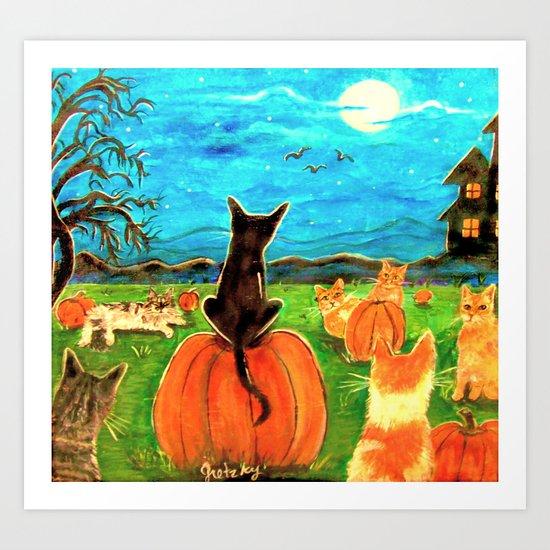 Seven Cats in Pumpkin Patch Art Print