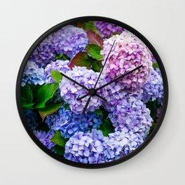 Purple Hydrangeas Wall Clock