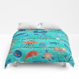 Blue & Orange Under the Sea Comforters