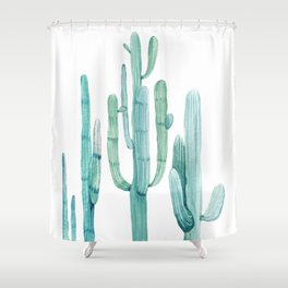 Cacti Fam Turquoise Shower Curtain