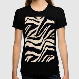 Zebra Animal Print Black and off White Pattern T-Shirt