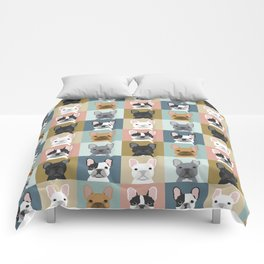 French Bulldog portraits pattern dog person gift love animal pet puppy frenchie bulldog valentines Comforters