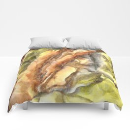 Leaves and Petals Autumn Abstract Watercolor Comforters