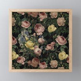 Vintage Roses and Iris Pattern - Dark Dreams Framed Mini Art Print