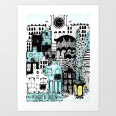 Midnight in Barcelona Art Print