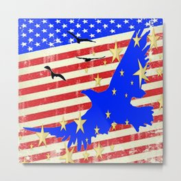 JULY 4TH PATRIOTIC BLUE EAGLE & STARS Metal Print
