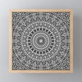 Grey Lace Ornament Mandala Framed Mini Art Print