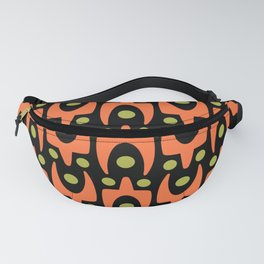 Mid Century Modern Abstract Pattern 545 Green Orange and Black Fanny Pack
