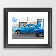 Vintage Blue Cars Framed Art Print