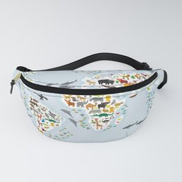 Cartoon animal world map for children and kids, Animals from all over the world, back to school Fanny Pack