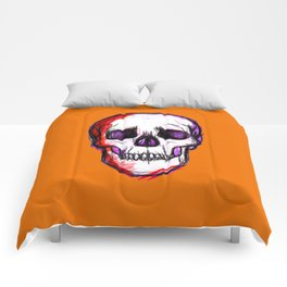 Pop Skull - orange Comforters
