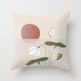 SEN Vietnam White Lotus Flower in the Tropical Sunset Hand Sketch Floral Design Throw Pillow