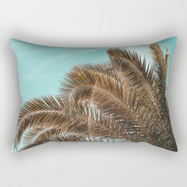 Summer Palm Leaf Print {1 of 3} | Teal Sun Sky Beach Vibes Tropical Plant Nature Art Rectangular Pillow