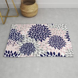 Floral Prints, Navy Blue, Grey and Pink Rug
