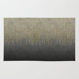 Dark Glamour golden faux glitter Rug
