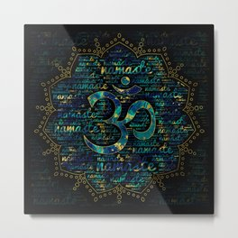 Namaste Word Art in Lotus with OM symbol Metal Print