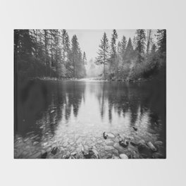 Forest Reflection Lake - Black and White  - Nature Photography Throw Blanket