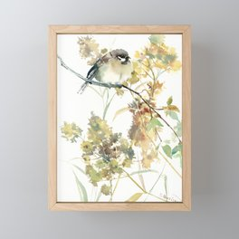 Sparrow and Dry Plants, fall foliage bird art bird design old fashion floral design Framed Mini Art Print
