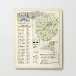 New York State Adirondack/High Peaks table [vintage inspired] Map print Metal Print