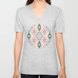Woven Textured Pastel Kilim Pattern Unisex V-Neck