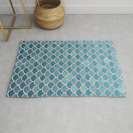 Mermaid Scales in Teal and Rose Gold Rug
