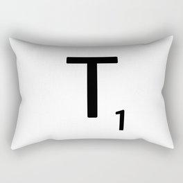 Letter T - Custom Scrabble Letter Tile Art - Scrabble T Initial Rectangular Pillow