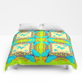 Southwestern  Lime & Turquoise Butterflies Gold Patterns Art Comforters