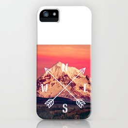 Snowy Mountain Compass iPhone Case