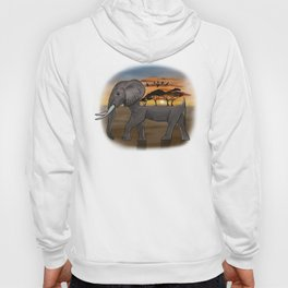 African Elephant, African Sunset, White Background Hoody