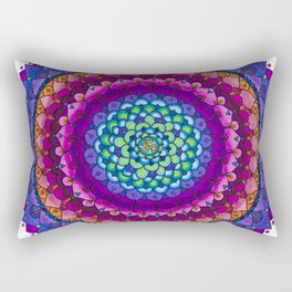 OHMandala Pink and Purple Colored Pencil Mandala Illustration by Imaginarium Creative Studios Rectangular Pillow