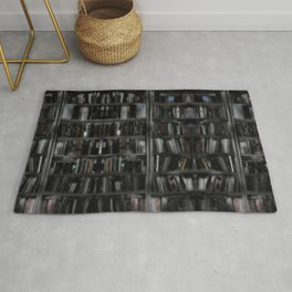 Black and White Book Shelves Rug