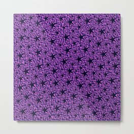 purple,many small and big stars as pattern in shiny metal Metal Print