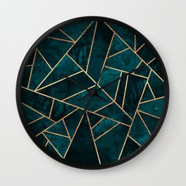 Deep Teal Stone Wall Clock