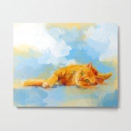 Cat Dream - orange tabby cat painting Metal Print