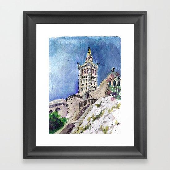 Notre-Dame de la Garde, Marseille sketch Framed Art Print