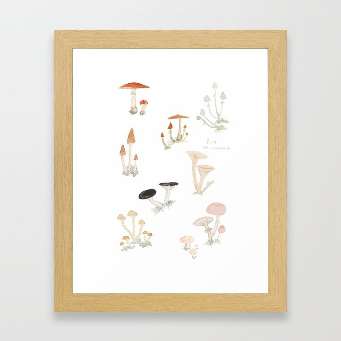 Sketchbook Mushrooms Framed Art Print