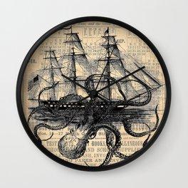 Octopus Kraken attacking Ship Antique Almanac Paper Wall Clock