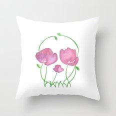 Tulip Skull Throw Pillow