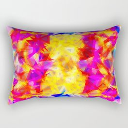 psychedelic geometric triangle pattern abstract background in pink yellow red blue Rectangular Pillow