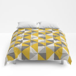 Retro Triangle Pattern in Yellow and Grey Comforters