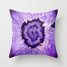 Purple Agate Geode Throw Pillow