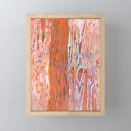 Modern Faux Bois Woodgrain Pattern Art Print - Tangerine Orange Framed Mini Art Print