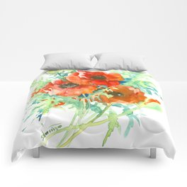 Red Poppies, Red flowers, French Country Style Field Flowers Comforters