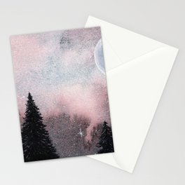 Bright Night Sky Watercolor Stationery Cards